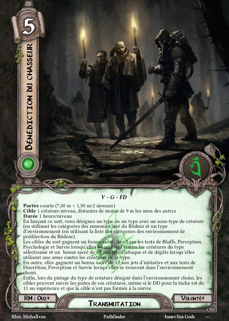 Bénédiction du chasseur Carte de sort Pathfinder