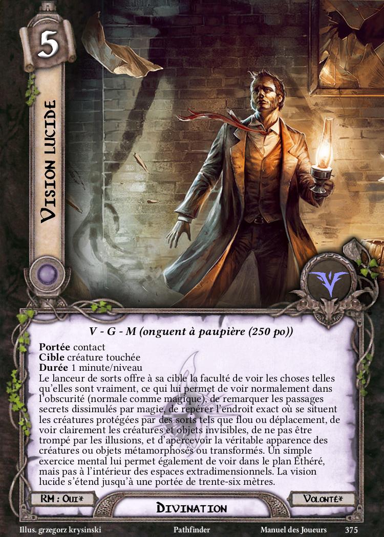 Vision lucide Carte Sort Pathfinder