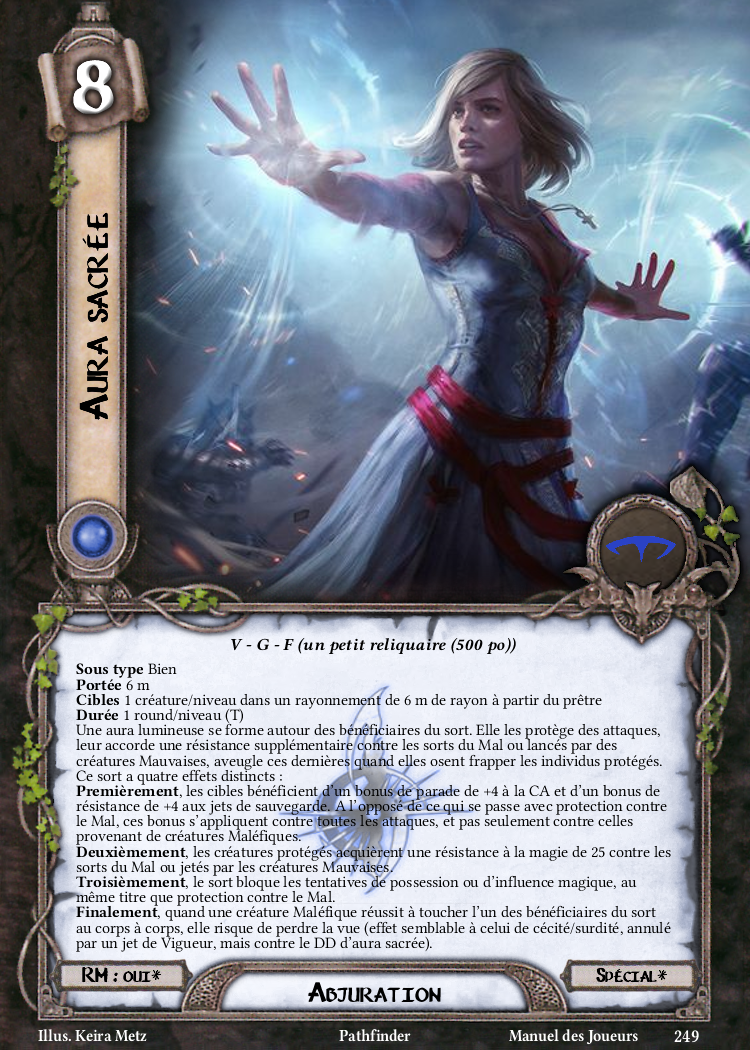 Aura sacrée Carte Sort Pathfinder
