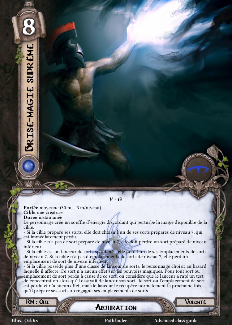 Brise magie suprême Carte Sort Pathfinder