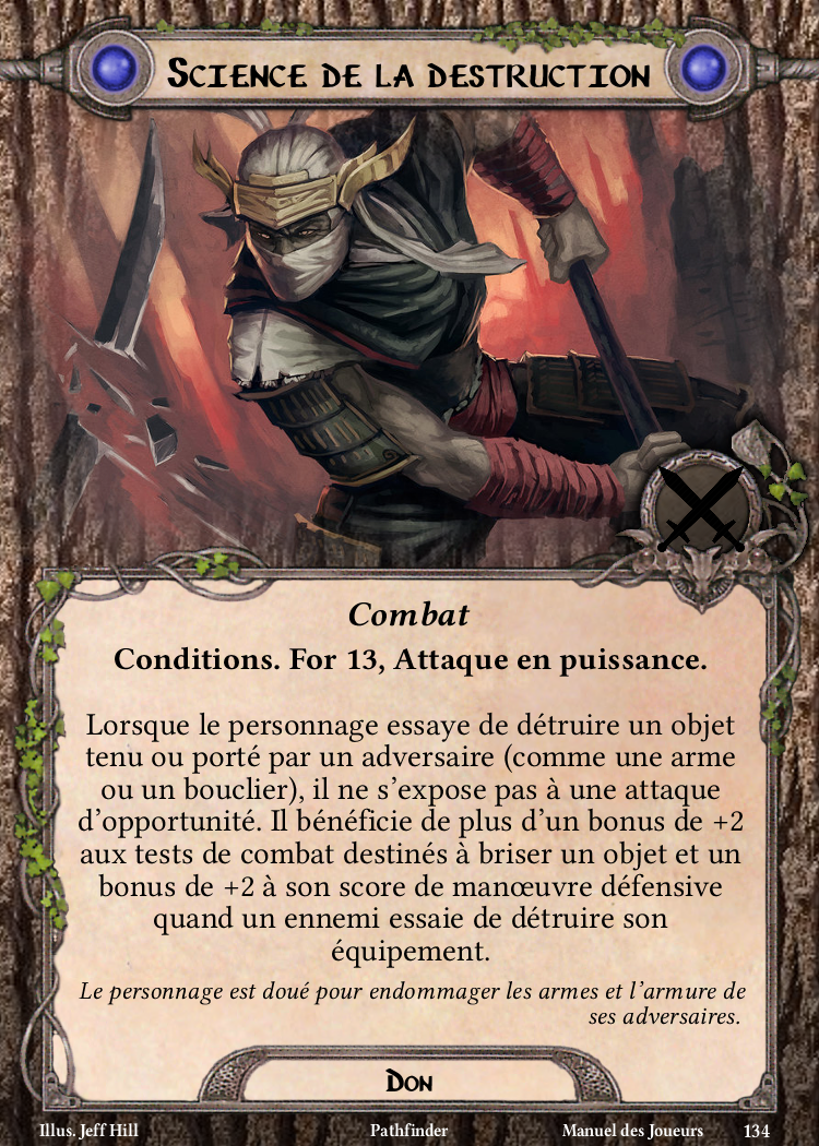Science de la destruction Carte Don Pathfinder