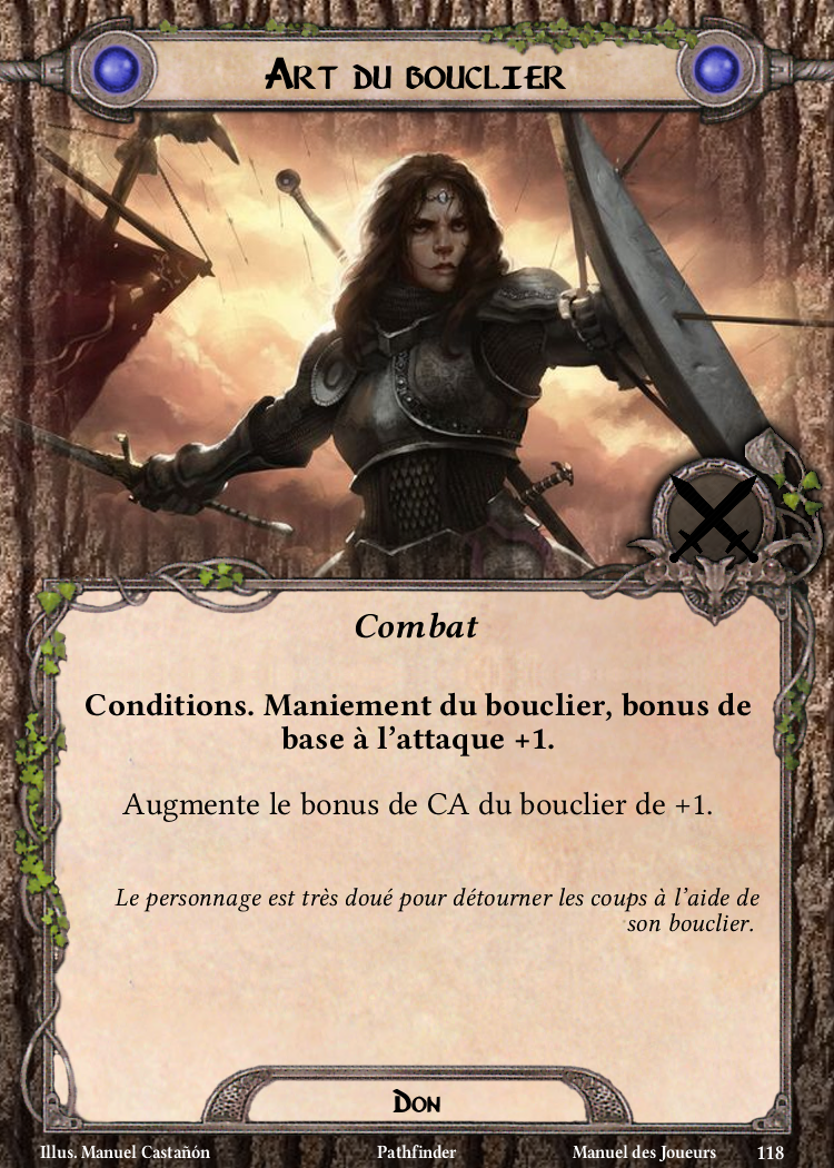 Art du bouclier Carte Don Pathfinder