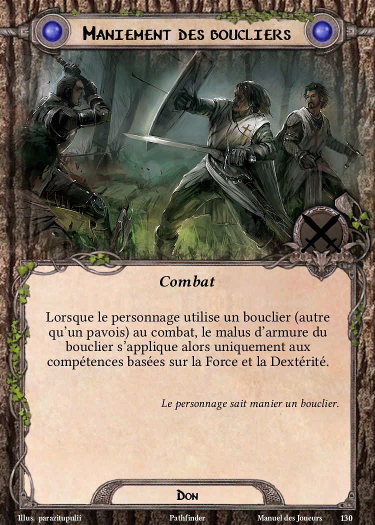 Maniement des boucliers Carte Don Pathfinder