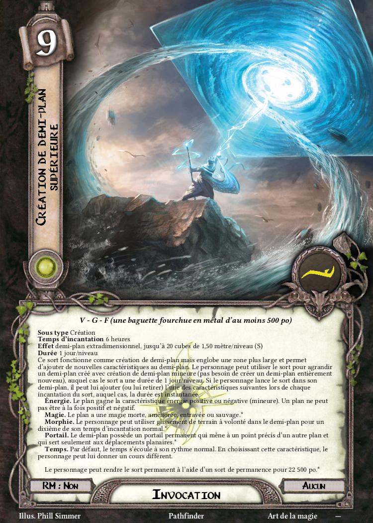 Création de demi-plan supérieure Carte Sort Pathfinder